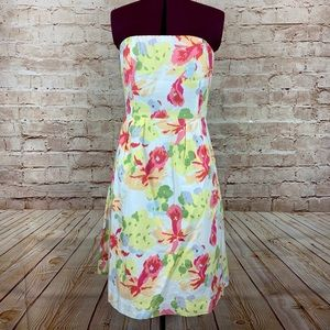 NWT J crew floral strapless dress sz 2 fully lined